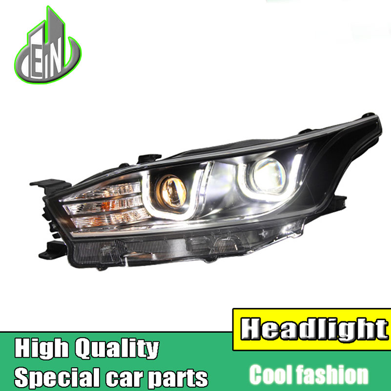 Car Style Head Lamp Case For Toyota YARiS headlights 2014-2016 double U led drl HID KIT Bi-Xenon Lens low beam Accessories