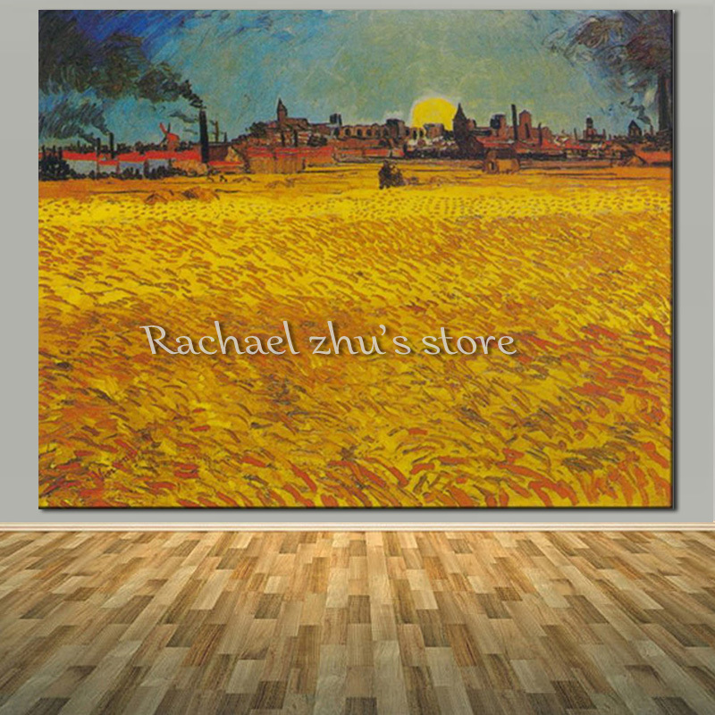 Famous Oil Painting Vincent van Gogh Painitng Wheat Field Replica Hand Painting On Canvas Living Room Wall Pictures Home Decor