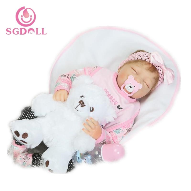 [SGDOLL] 2017 New 22 Reborn Baby Doll Realistic Newborn Lifelike Vinyl Girl Baby Doll Handmade 17010604 new original 516 371 g e4 c s4 00 2 warranty for two year