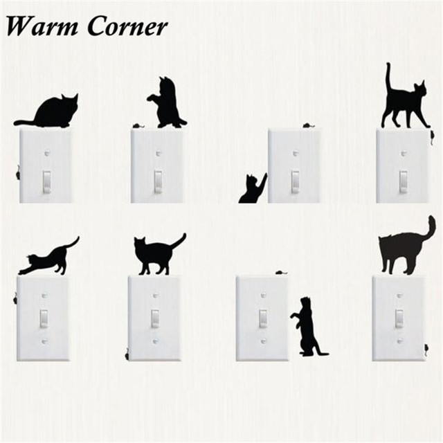 1PC Switch Stickers Hot Sales 8 Types Cat Room Window Glass Switch Wall Sticker PVC Decorating Vinyl Decal Decor Cartoon Aug 17