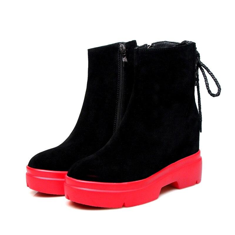 D'hiver Dames Chaude Zip Automne Noir Suédé Pour 2018 Chaussures Vente Plate red Nouvelle Bout Asumer Cuir forme Cheville Bottes Rond En Femmes UwvqETE