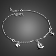New sailboat pendant anklets Women solid 925 silver Cute girls Charm lady jewelry brithday present