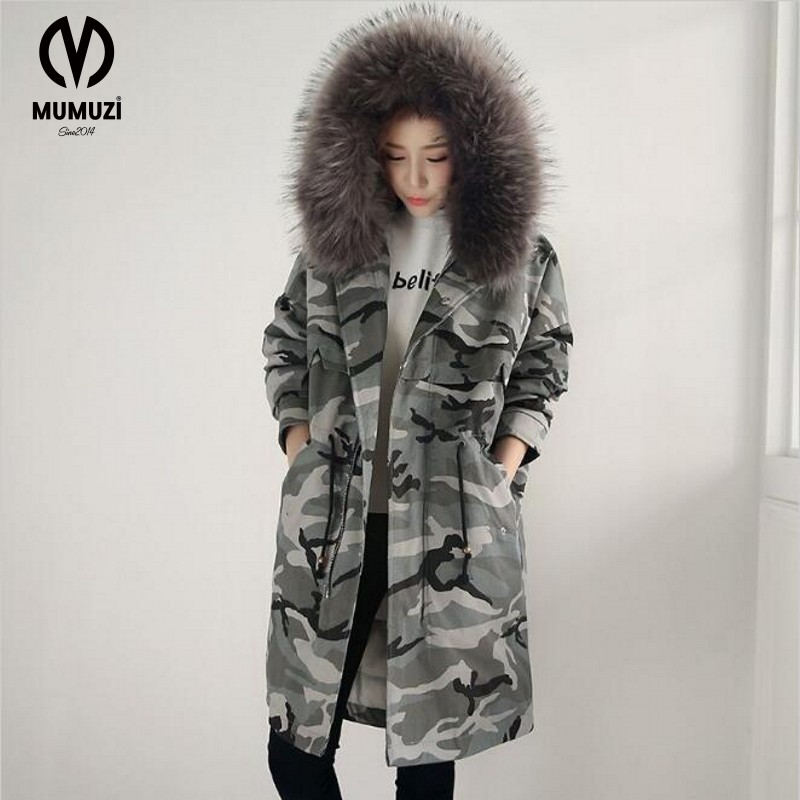 2017 New Winter Women Long Coat Camouflage Fur Collar Hooded Cotton Jacket Thick Warm Loose Parka Coat Female Armygreen Overcoat women winter coat leisure big yards hooded fur collar jacket thick warm cotton parkas new style female students overcoat ok238