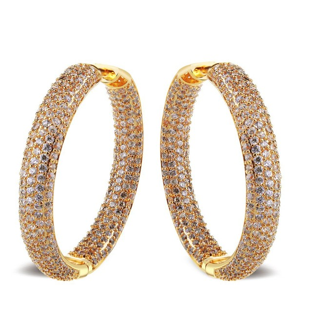 Top quality real gold plated with white AAA Zircon hoop Earrings For women new design rhinestone big fashion hoop earrings