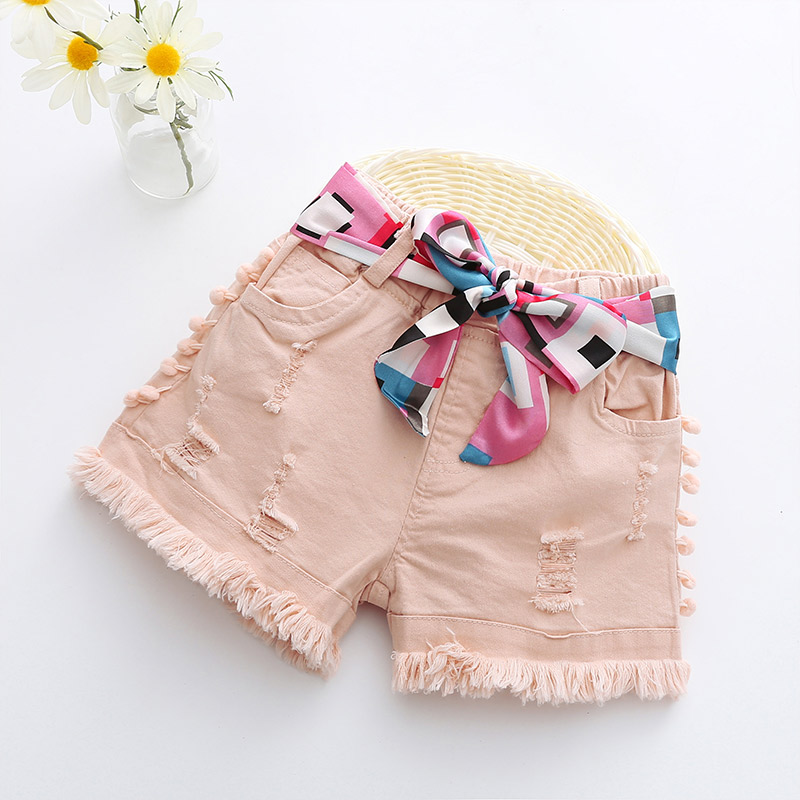 New Arrival Fashion Baby Girls Denim Shorts Summer Kids Jeans Shorts Children Flower belt pink Short Pants for Girls 2-8T retro design summer men jeans shorts summer style black color destroyed ripped jeans men shorts white wash stretch denim shorts