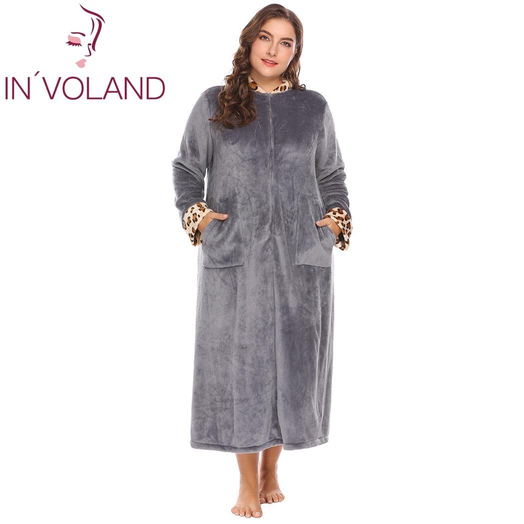 IN'VOLAND Grande Taille XL-5XL Femmes Vêtements De Nuit Peignoirs Doux Chaud Salon En Peluche Polaire Robe Lingerie Peignoir Robes Grande Taille