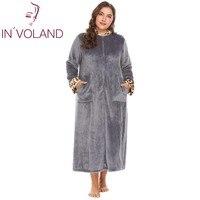 IN'VOLAND Plus Size XL 5XL Women Sleepwear Robes Soft Warm Lounge Plush Fleece Dress Lingerie Bathrobe Dressing Gowns Big Size