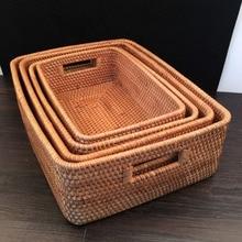 4 Pcs / Lot S M L XL Rectangle Autumn Rattan storage baskets boxes laundry basket rattan dirty clothes sundry organizer