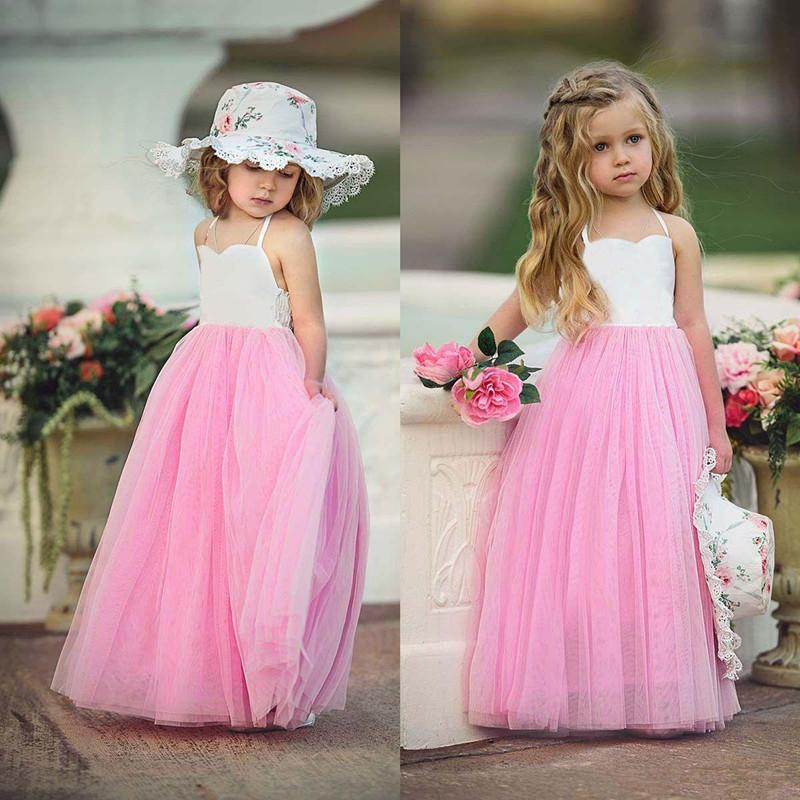 2018 Pink Tulle Flower Girls Dresses Summer Beach Princess Dress Kids Baby Party Wedding Pageant Dresses Any Size girls dress blue flower bow tie tulle party princess 2018 summer wedding dresses kids clothes size 4 12 pageant sundress