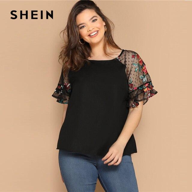 SHEIN Plus Size Black Flower Embroidery Mesh Sleeve Top Blouse Women Summer Elegant Short Sleeve Sheer Solid Round Neck Blouses