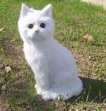 Новый моделирование cat реалистичные ремесленных большой белый cat модель подарок о 35×15 cm