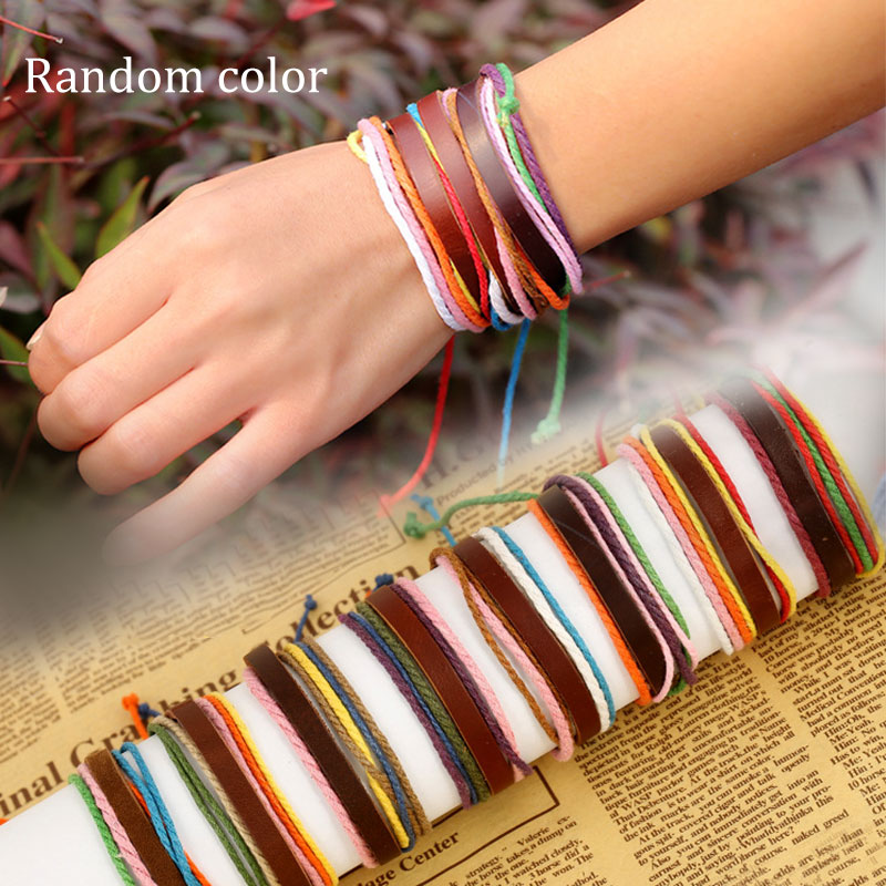 Vintage Random Colors PU Leather Bracelet Women Handmade Twine Bangle Cuff Bracelet For Women Men Jewelry KQS