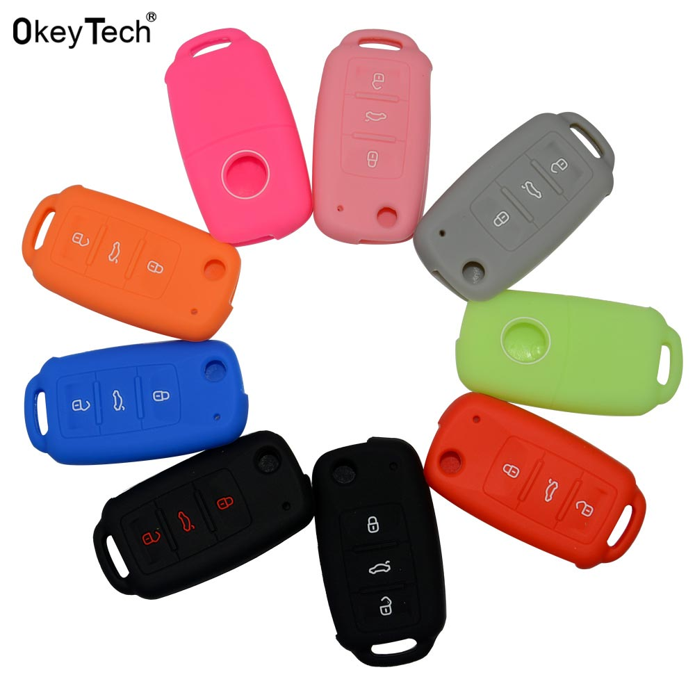 OkeyTech Car Key Case for silicone cover for VW Volkswagen polo passat b5 golf 4 5 6 jetta mk6 tiguan Gol CrossFox Eos Scirocco vw tiguan polo passat golf6 golf 7 mk4 mk6 mk7 jetta cc santana touareg r30 r36 leather car key case key cover accessories