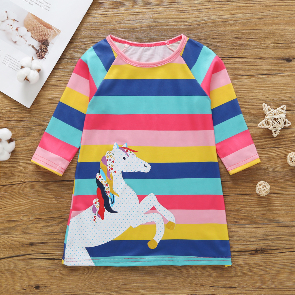 50f3622fb New Striped Patchwork Character Girl Dresses Long Sleeve Cute ...