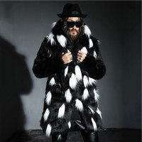 Men's Winter Faux Fur Jacket Black Gown White Gothic Style Long Windbreaker Fox Thick Black Warm Fashion Man Leather Fur Coat