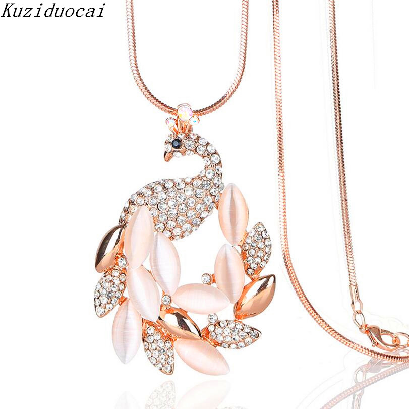 Kuziduocai New ! Fashion Fine Jewelry Metal Gold Color Rhinestones Opal Peacock Long Necklace & Pendants For Women Gifts N-77