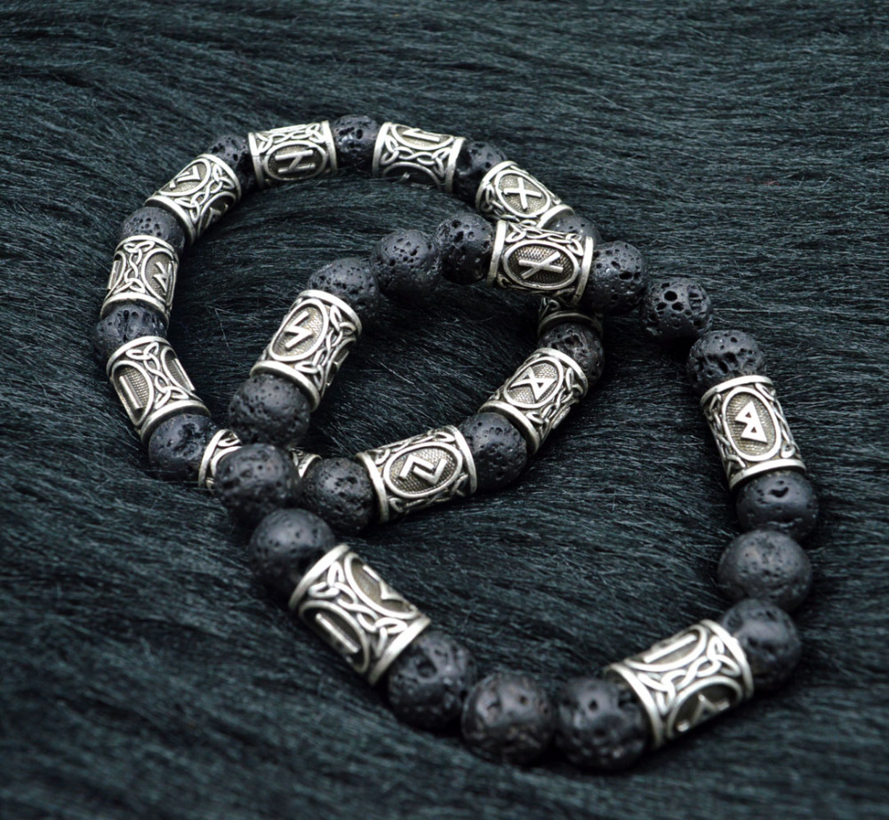 1pc Personalized 10mm Lava Stone Antique Silver Norse Viking Beads Aromatherapy Essential Oil Diffusing Bracelets Bangles