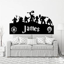 Personalized Alliance Name Wall Sticker Boy Room Bedroom Custom World of War Name Wall Decal Kids Room Vinyl Home Decor U987(China)