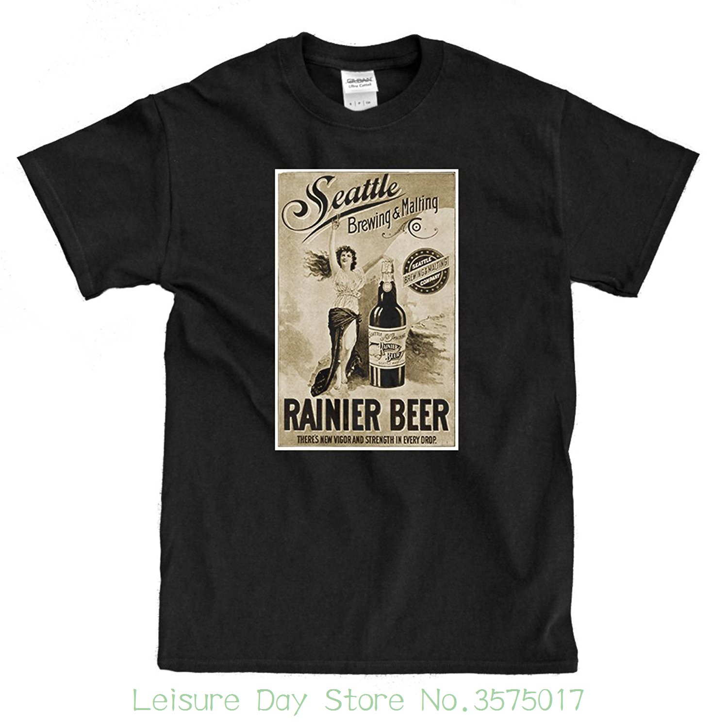 T Shits Printing Short Sleeve Casual O-neck Cotton Rainier Beer Vintage Ad Black T-shirt ...