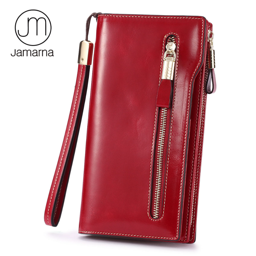 Jamarna Women Wallets Genuine Leather Oil Wax Long Ladies Coin Purse Card Phone Holder Red Clutch Wallet Female Free Shipping la mer collections lmsoho1003lak