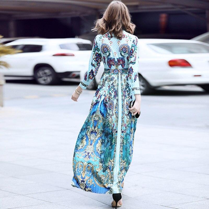 Plancher De Robe Ligne Col Longue Longueur Papillon Plissé Pu Ciel Chaude Cravate Imprimé Floral Arc Une Bleu Robes Maxi Rétro Vente Femme qB4nrwq67