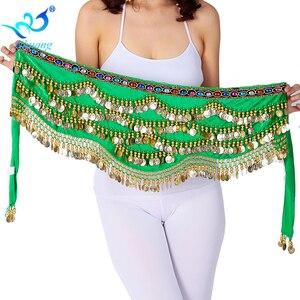 Image 2 - เซ็กซี่เทศกาลผ้าพันคอสะโพกทองเหรียญผู้หญิงBellyเต้นรำประสิทธิภาพกระโปรงสะโพกOriental/อินเดียBelly Danceเข็มขัดเหรียญ