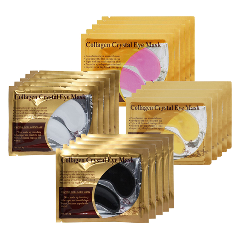 10Pcs=5Pair Gold Crystal Collagen Eye Mask Eye Patches For Eye Care Dark Circles Remove Anti-Aging Wrinkle Skin Care