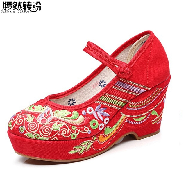 Chinese Women Wedding Shoes Floral Embroidered Pumps Cotton High Heels  Ankle Strap Ladies Comfort Canvas Pump Wedges Shoes d6ace4af26a8