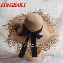 Summer Fashion Straw Sun Please Letter Beach Hats For Women Large Brim Floppy Hat Female SWDS035