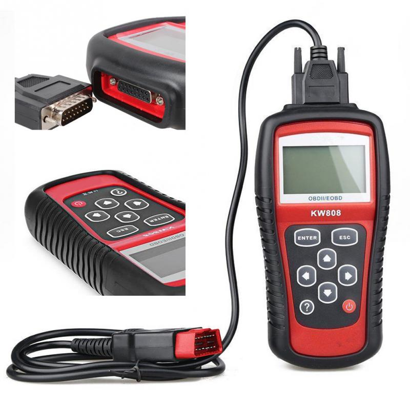 KW808 Universal Car OBDII EOBD Code Reader Scanner OBD2 Diagnosis Scan Tool OBD 2 II PK Maxiscan MS509 ODB Scaner u480 1 5 lcd universal can bus obd2 car diagnostic code reader memo scanner