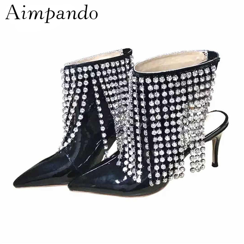 New Design Fringed Rhinestone Ankle Boots Women Slingback Thin High Heels Pointed Toe Crystal Tassels Short