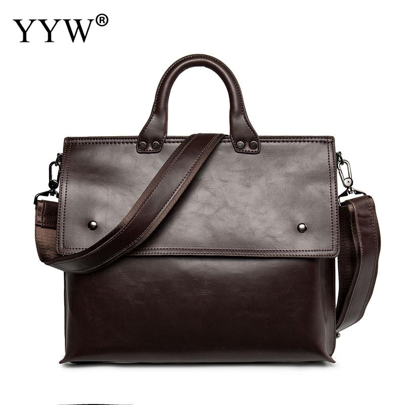 2018 PU Leather Briefcase Bag For Men Shoulder Handbag Large Capacity Attached With Hanging Strap Business Bag Solid