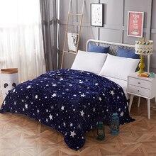 Manta de colcha de estrellas brillantes de 200x230 cm, manta súper Franela suave de alta densidad para el sofá/cama/coche, mantas portátiles