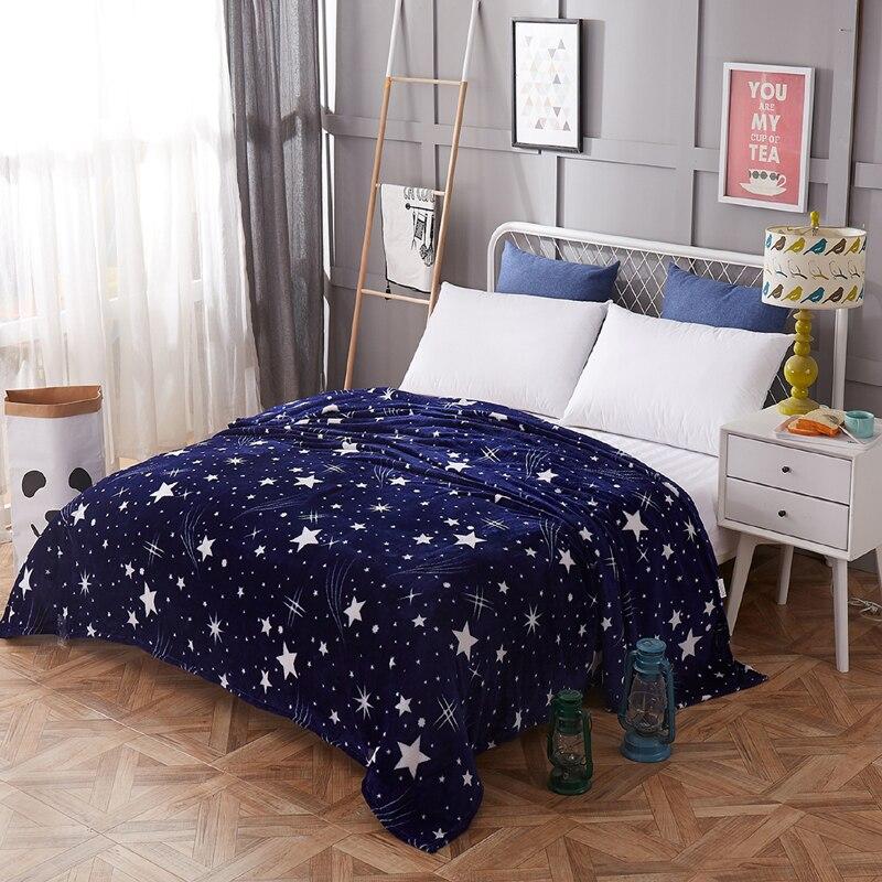 Brillant étoiles couvre-lit couverture 200x230cm haute densité Super doux flanelle couverture à sur pour le canapé/lit/voiture Portable Plaids