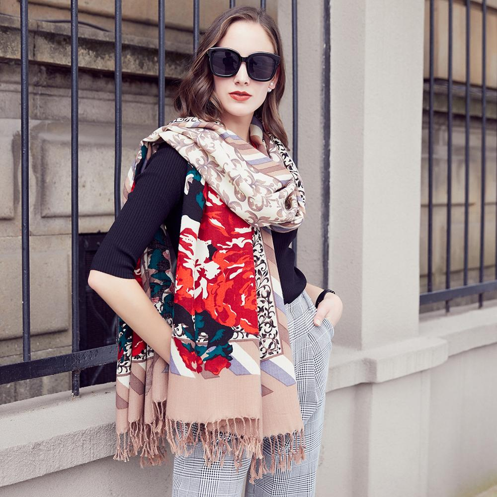 Wool Women Scarves Stoles Elegant Carf Warm Shawl Bandana Scarf  Luxury Brand Muslim Hijab Beach Blanket Face Shield FoulardWomens  Scarves