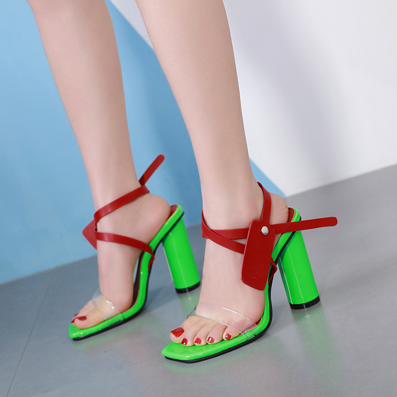 buckle Sandals Woman Chunky heels Slides Clear peep toe Shoes fashion pump  mixed color high heel 6e8b6bf392ce