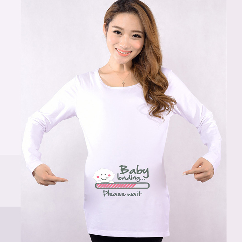 Hot pregnant t-shirts baby loading print funny maternity tops long sleeve tees cotton women's t shirts pregnancy clothes casual fashion long sleeve o neck t shirt 2017 new arrival men t shirts tops tees men s cotton t shirts 3colors men t shirts m xxl