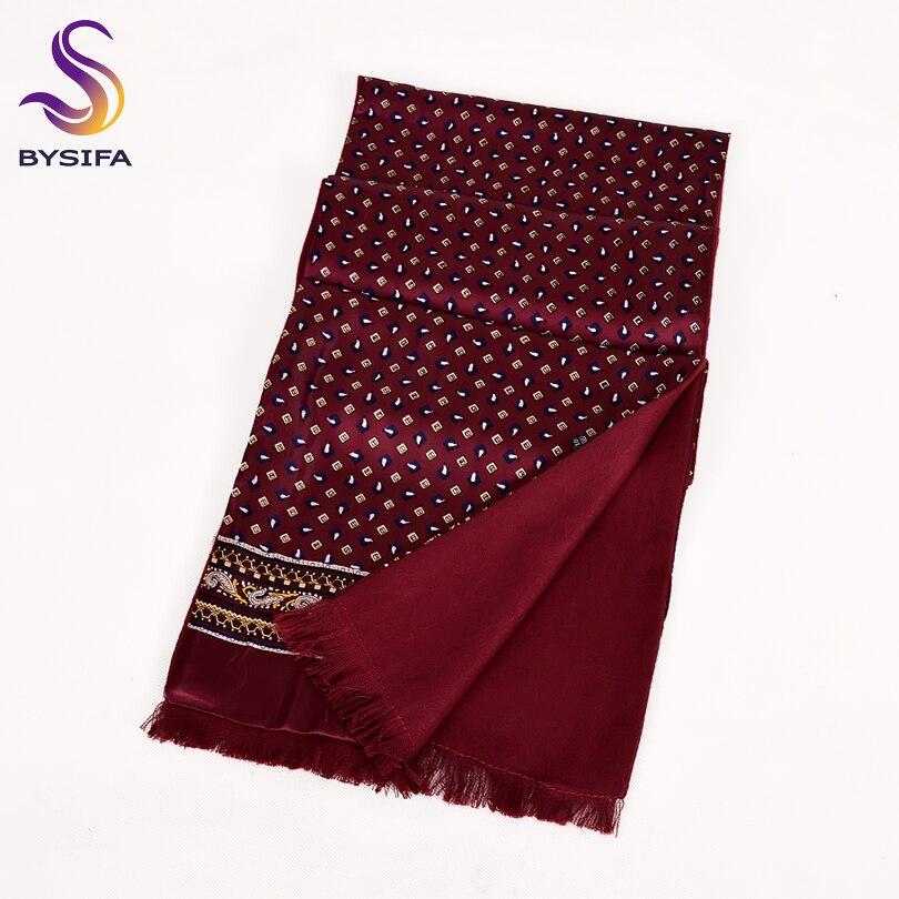 Neck-Scarf Cravats Winter 100%Silk Thicken Male Fashion New BYSIFA Tie Long Scarves Men