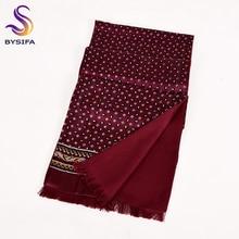 [BYSIFA] темно-бордовый мужской шелковый шарф галстук утолщенный Модный Топ класс Шелковый мужской шейный шарф зимние длинные шарфы Галстуки 165*24 см