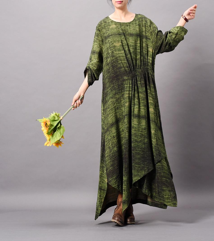 Nouveau L'innovation Grande Robe Femme Une Taille Printemps Green Pour Originale Pièce Soie Plissée Impression 2019 Avec red Tempérament Irrégulière OiPuwkTZX