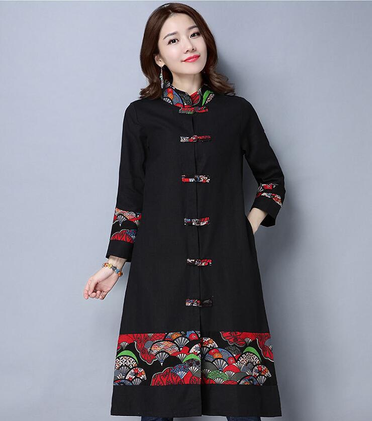 Coat Women Blouses Long-Sleeve Outwear Spring Autumn Casual Cotton Linen Tops Cemisas