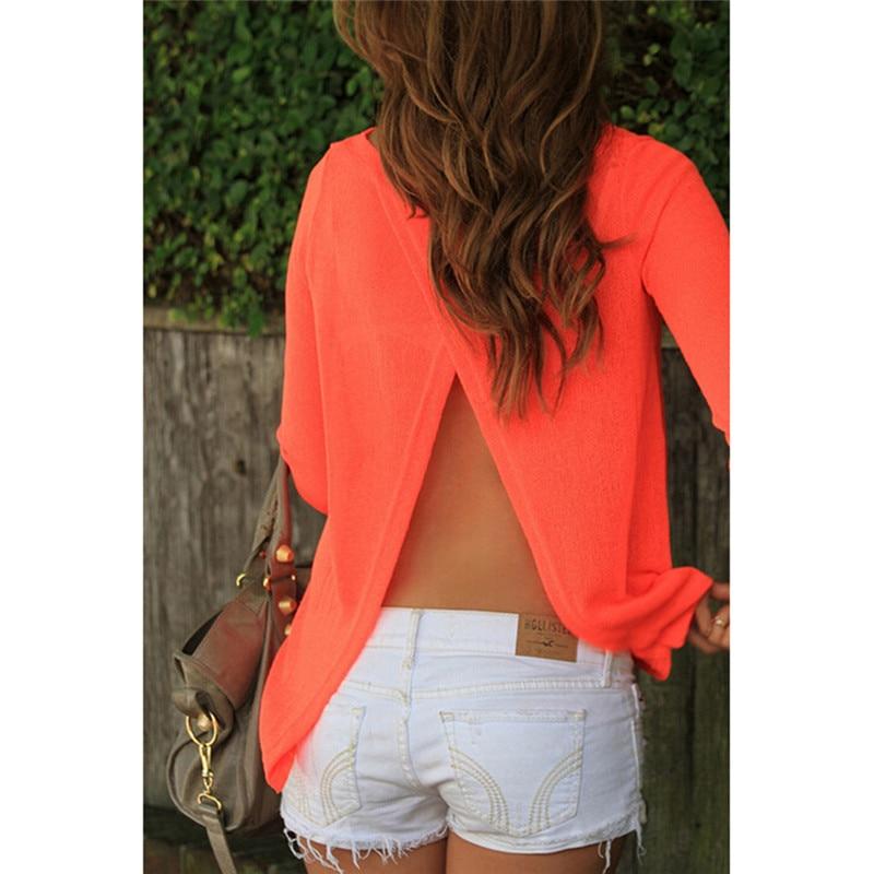 Spring Fall Sexy Back Split Shirt Women Long Sleeve Chiffon Regular Sleeve Shirt Rear View Relaxed Casual Top