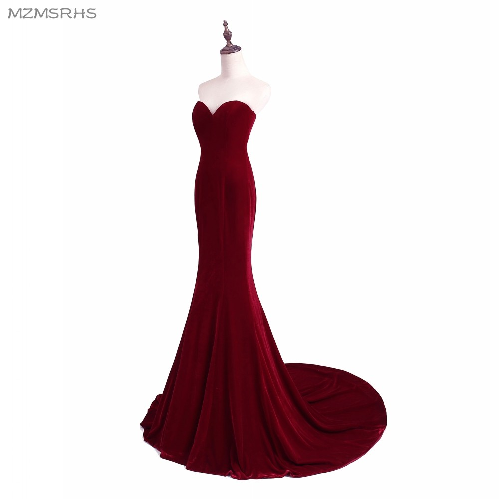 Unik Designer Burgundy Mermaid Prom Dresses 2015 Women Long Train - Särskilda tillfällen klänningar - Foto 4
