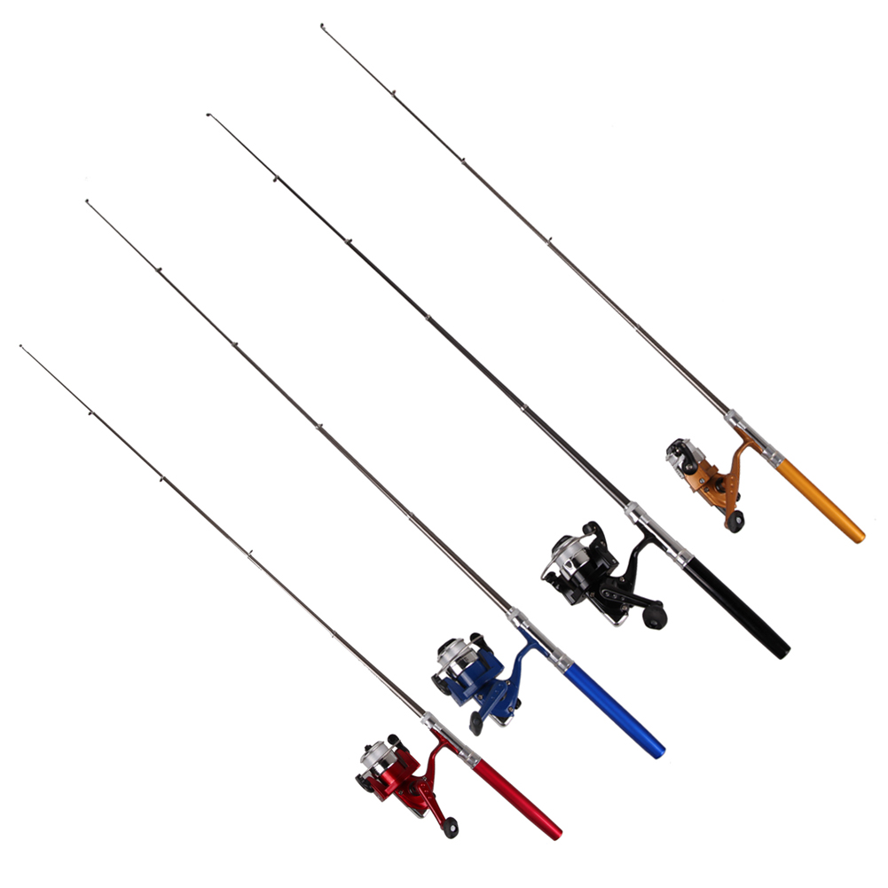 Mini Fishing Pole Portable Pocket Telescopic Aluminum Alloy Pen Shape Fishing Rod With 100m Fishing Line Rotate Speed Ratio5.1:1 цена 2017