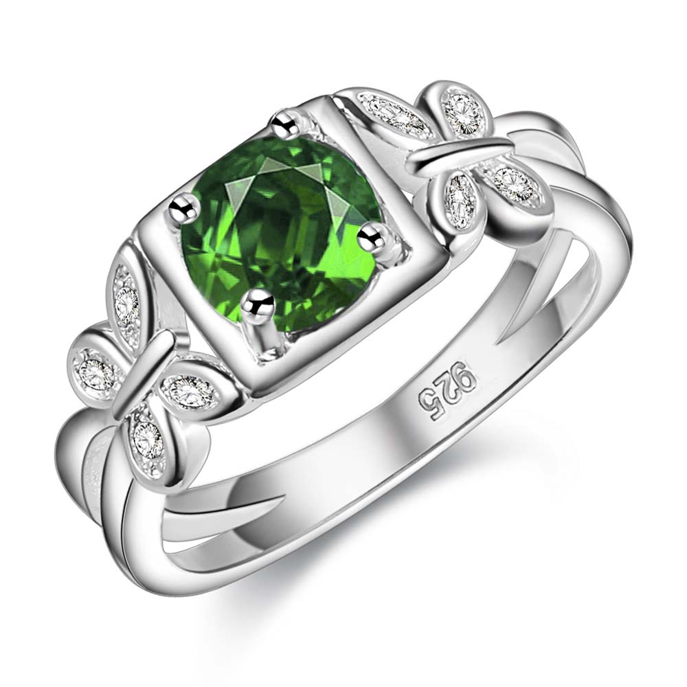 round shiny delicate green zircon Silver plated Ring Fashion Jewerly Ring Women&Men , /PUQYKJBV MXCMCMSF