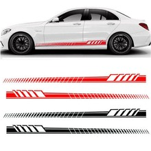 2Pcs Universal Car Stickers Auto Body Long Stripe Side Skirt Decoration Vinyl Decal Cutting Carving Styling