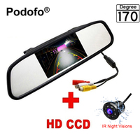 Podofo Mini 4.3 Car Reversing Mirror Monitor with Waterproof 8 LED Night Vision Camera Parking Assistances System Car Styling