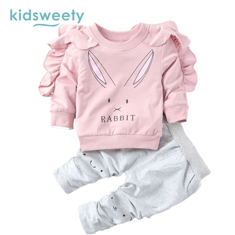 Kidsweety Girls Sets 2017 Cotton Cartoon Cute Hoodie Pants Suits Falbala Pullover Letter Lovely Girl Twinset