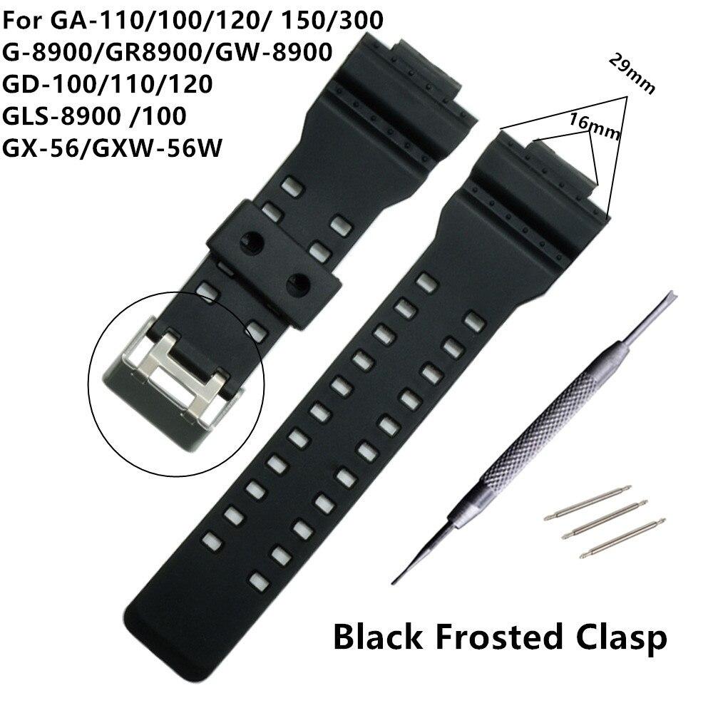 Bracelet de montre en caoutchouc de Silicone 16mm pour remplacement de choc Casio G accessoires de bracelets de montre imperméables noirs