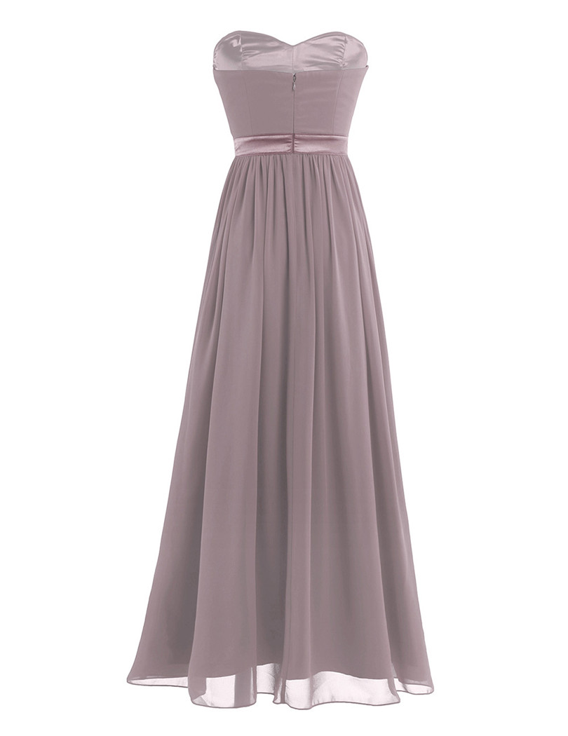 Dusty Rose Pleated A Line Long Bridesmaid Dress